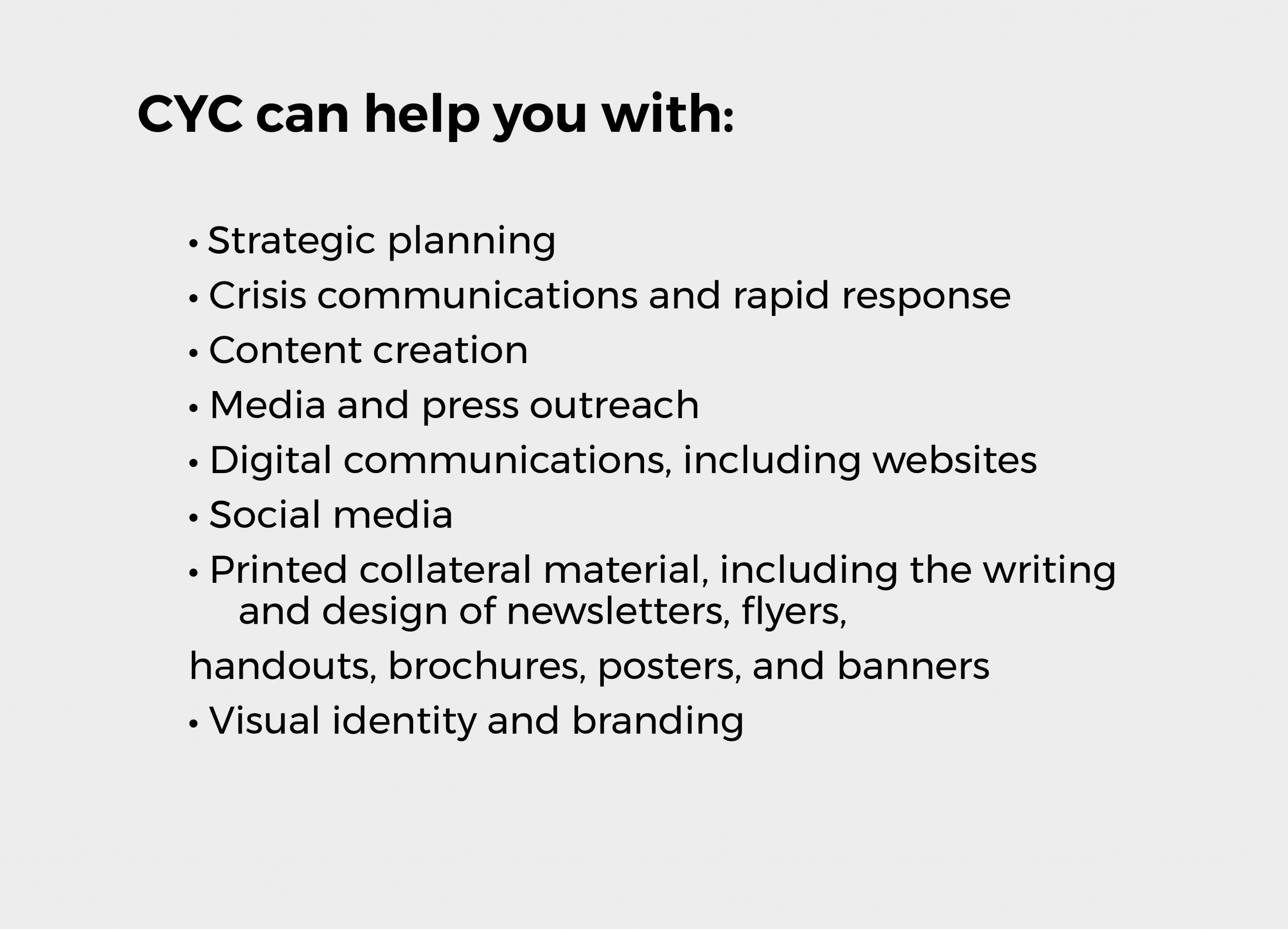 CYC can help you with outline