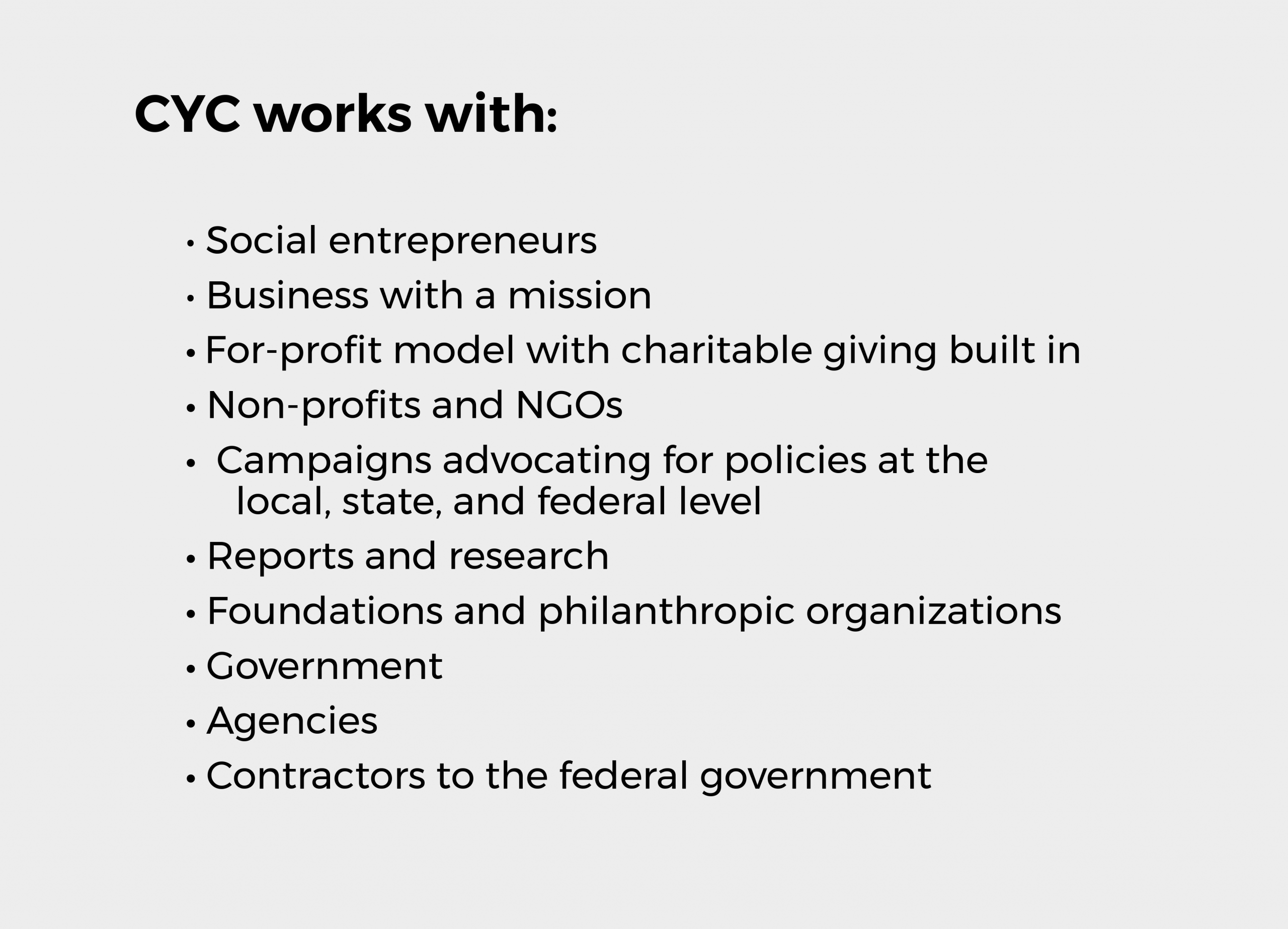 CYC works with outline